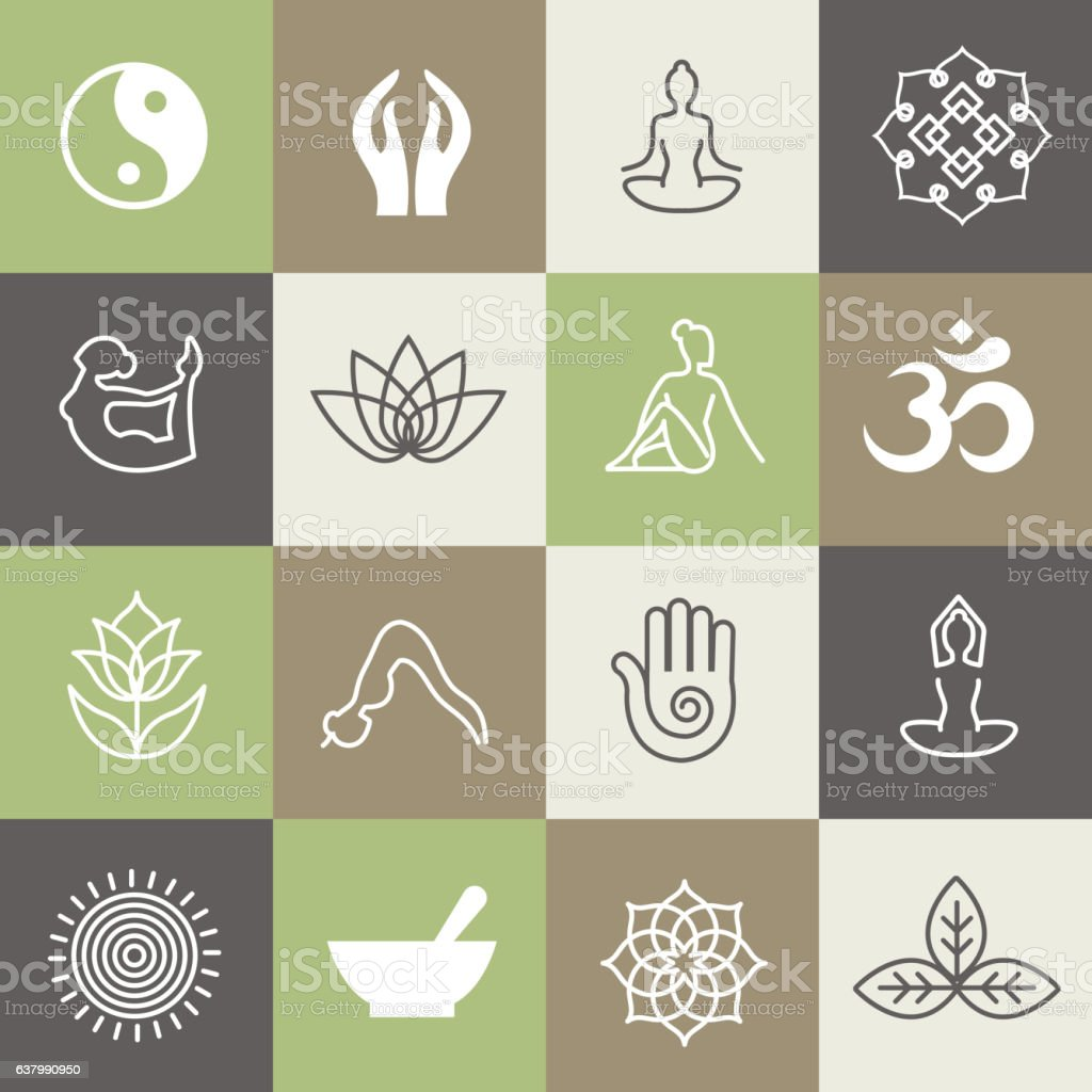 Yoga symbols and poses vector art illustration