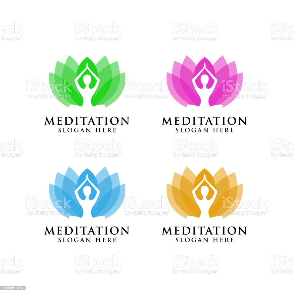 Yoga Symbols Design Stock Human Meditation In Lotus Flower Vector