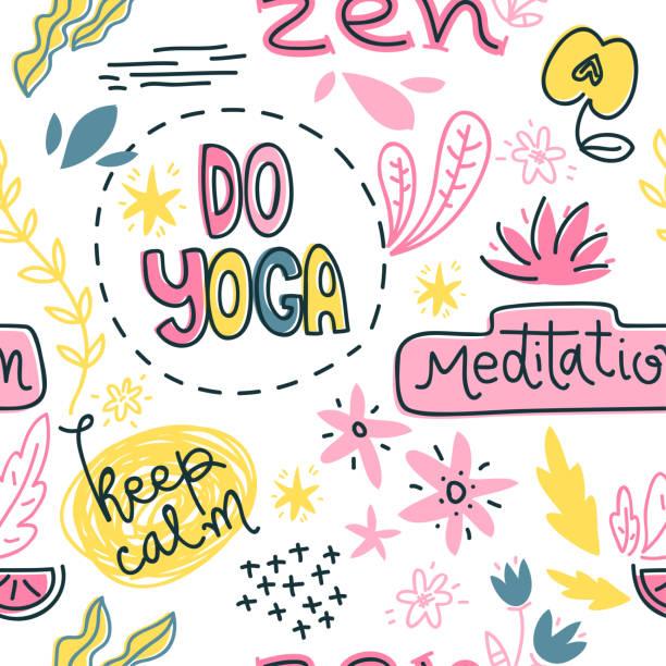 Symboles de yoga, des slogans et des objets abstraits. Modèle sans couture de vecteur - Illustration vectorielle