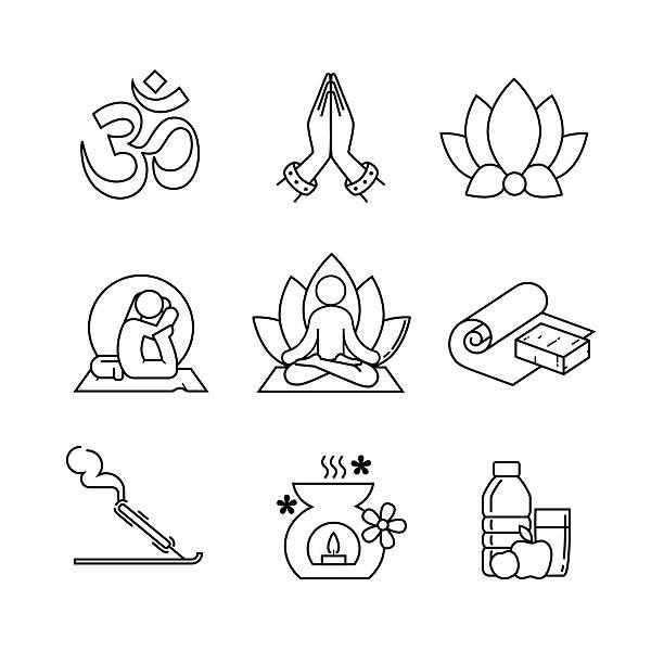 Yoga thin line art icons set Yoga thin line art icons set. Modern black symbols isolated on white for infographics or web use. prayer pose yoga stock illustrations