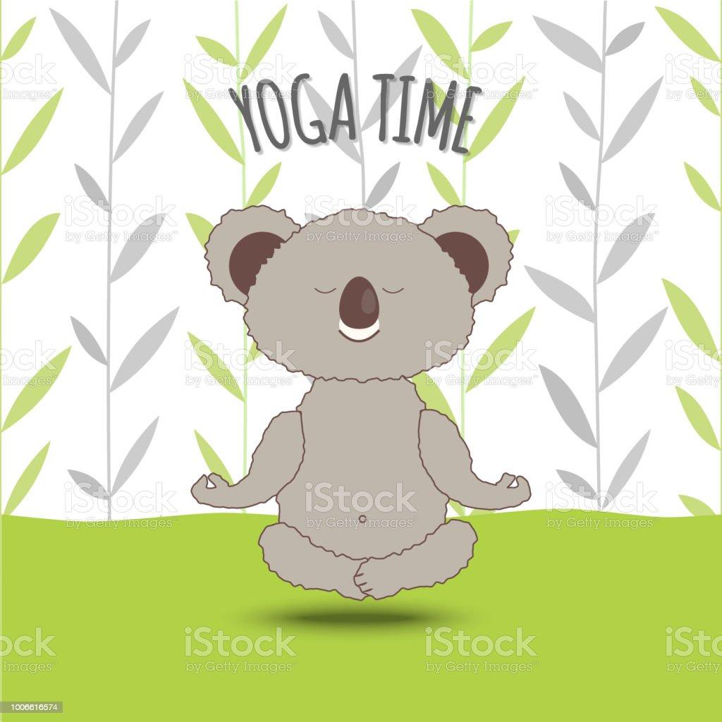 Yogazeit Cartoon Koala Soar In Lotuspose Auf Bambus Hintergrund