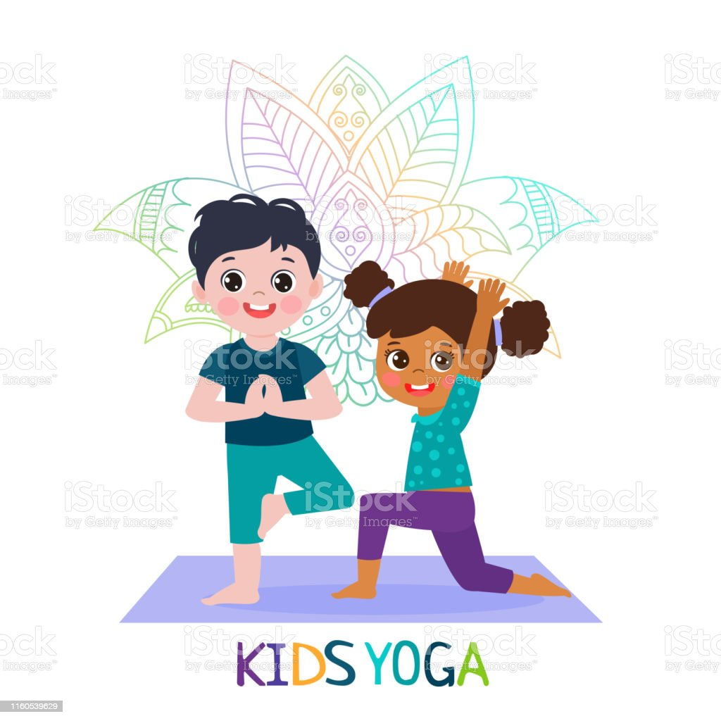 Yoga Time Kids Yoga Design Concept Girl And Boy In Yoga Position Vector Illustration Stock Illustration Download Image Now Istock