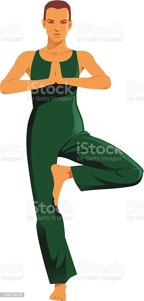 Yoga Tree Pose Isolated vector art illustration