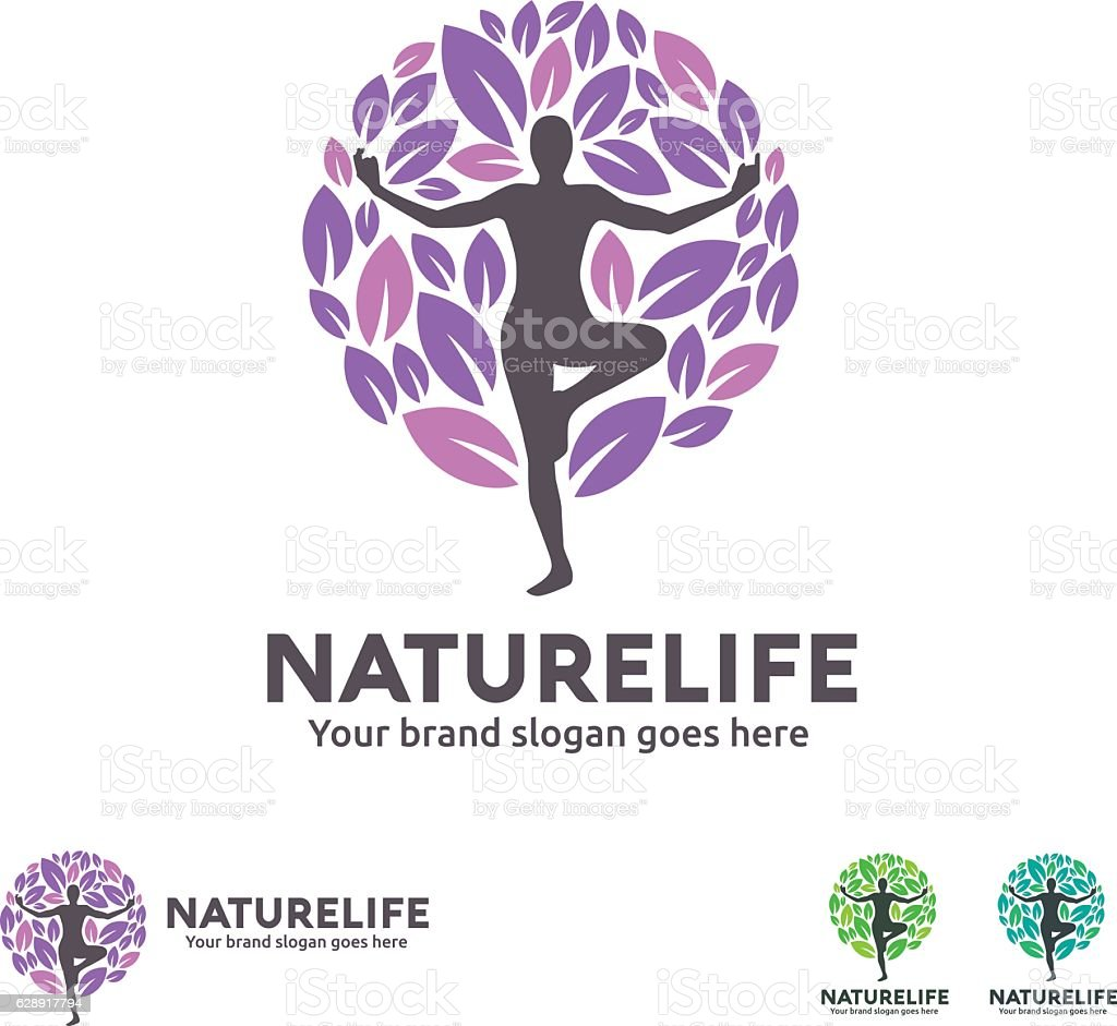 Yoga Tree Symbol vector art illustration