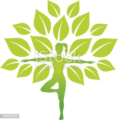Woman silhouette in yoga pose as a tree trunk.
