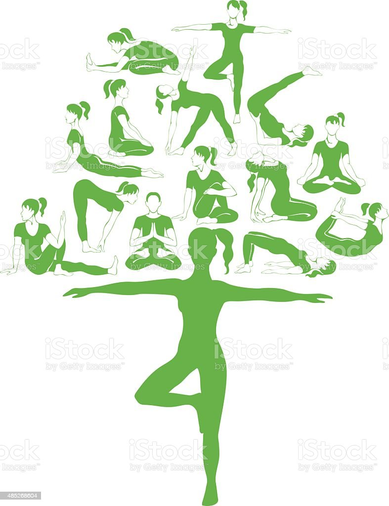 Yoga tree vector art illustration