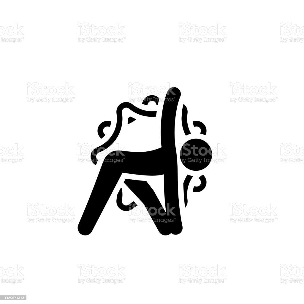 Yoga Triangle Pose Icon. Flat Design Yoga Poses with Mandala Ornament...