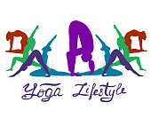 istock Yoga. Vector banner of multi-colored silhouettes of yoga poses. 1225729350