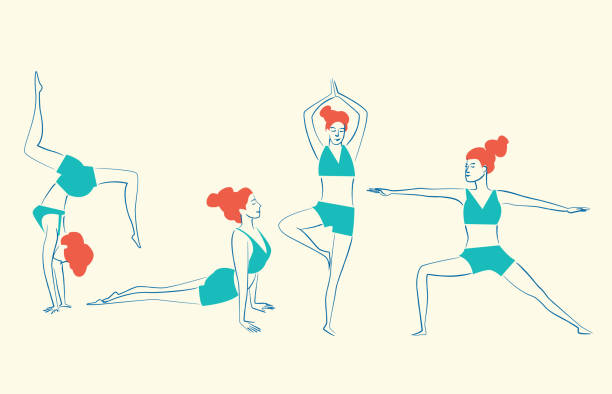 Yoga This people stays healthy by exercising your Body.  This illustration is made in vectors and it is easy to change colors and adapt to any size. yoga stock illustrations