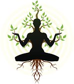 Person in yoga position with Tree behind him. There is three separate layers. PNG file (2665x3041 pixels, 300 dpi) is also included.