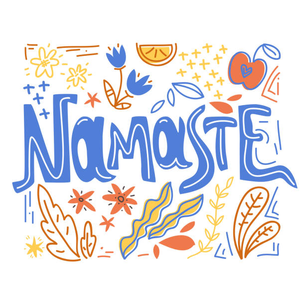 Yoga vector lettering. Namaste. Flowers and plants.  Flat minimalist style. Yoga vector lettering. Namaste. Flowers and plants.  Flat minimalist style. Simple style prayer pose yoga stock illustrations