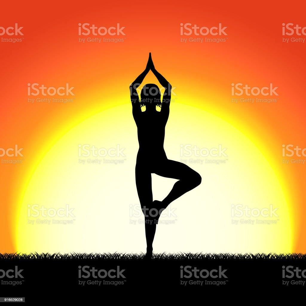 Yoga Vricshasana Pose Black Silhouette On Sunset Background Woman Character Meditating In Nature During Sunrise