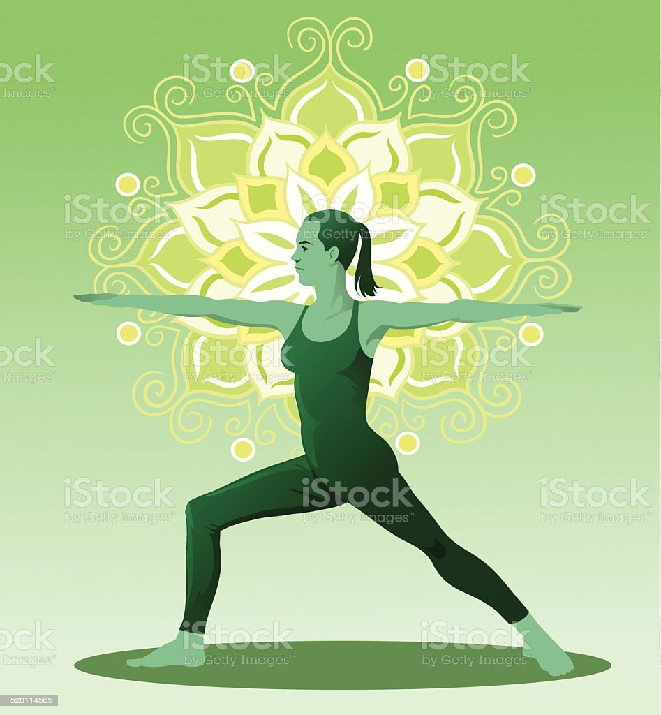 Yoga Warrier Position with Mandala vector art illustration