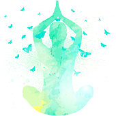 A vector illustration of a person doing yoga with butterflies surrounding them. Drawn with a watercolor paint effect.