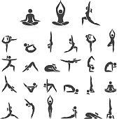 Yoga woman poses icons set.