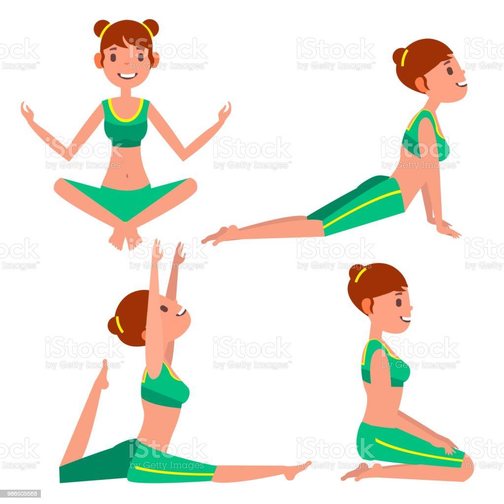 Yoga Woman Poses Set Vector. Girl. Yoga Exercise. Doing Fitness, Sport. Flat Cartoon Illustration vector art illustration