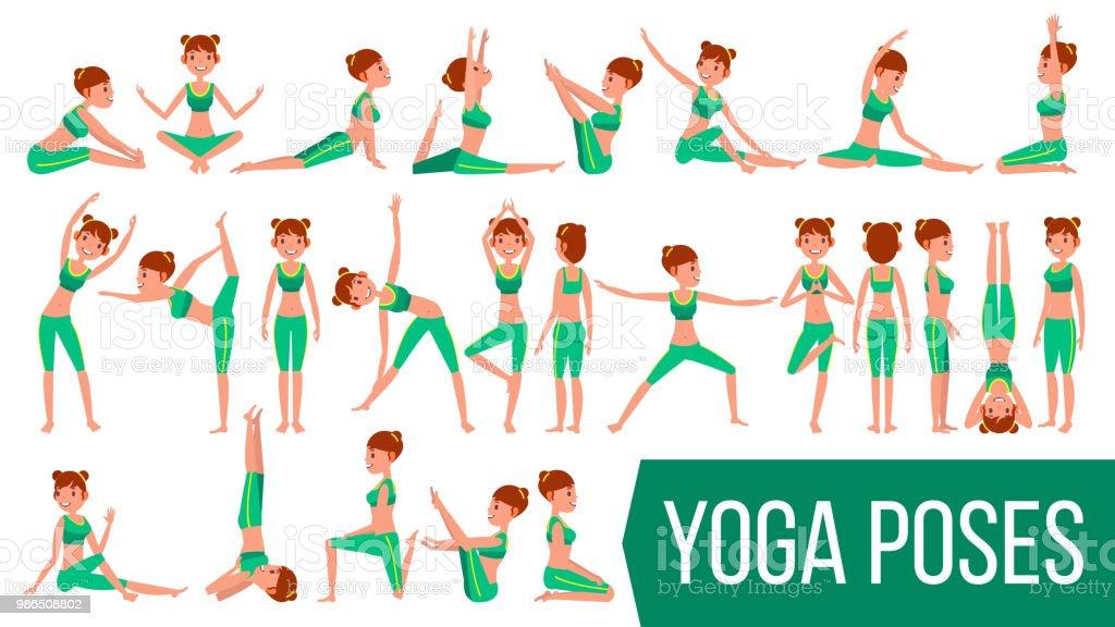 Mujer de yoga plantea establecer Vector. Relajación y meditación.  Estiramiento y torsión. Practicando 692ff8b020f0