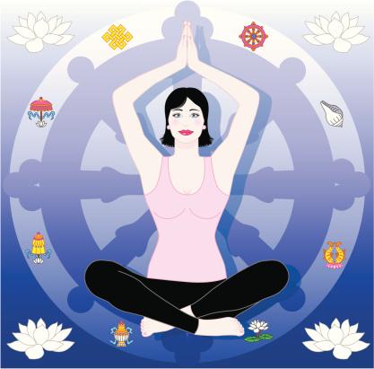 Yoga woman with Dharma Wheel