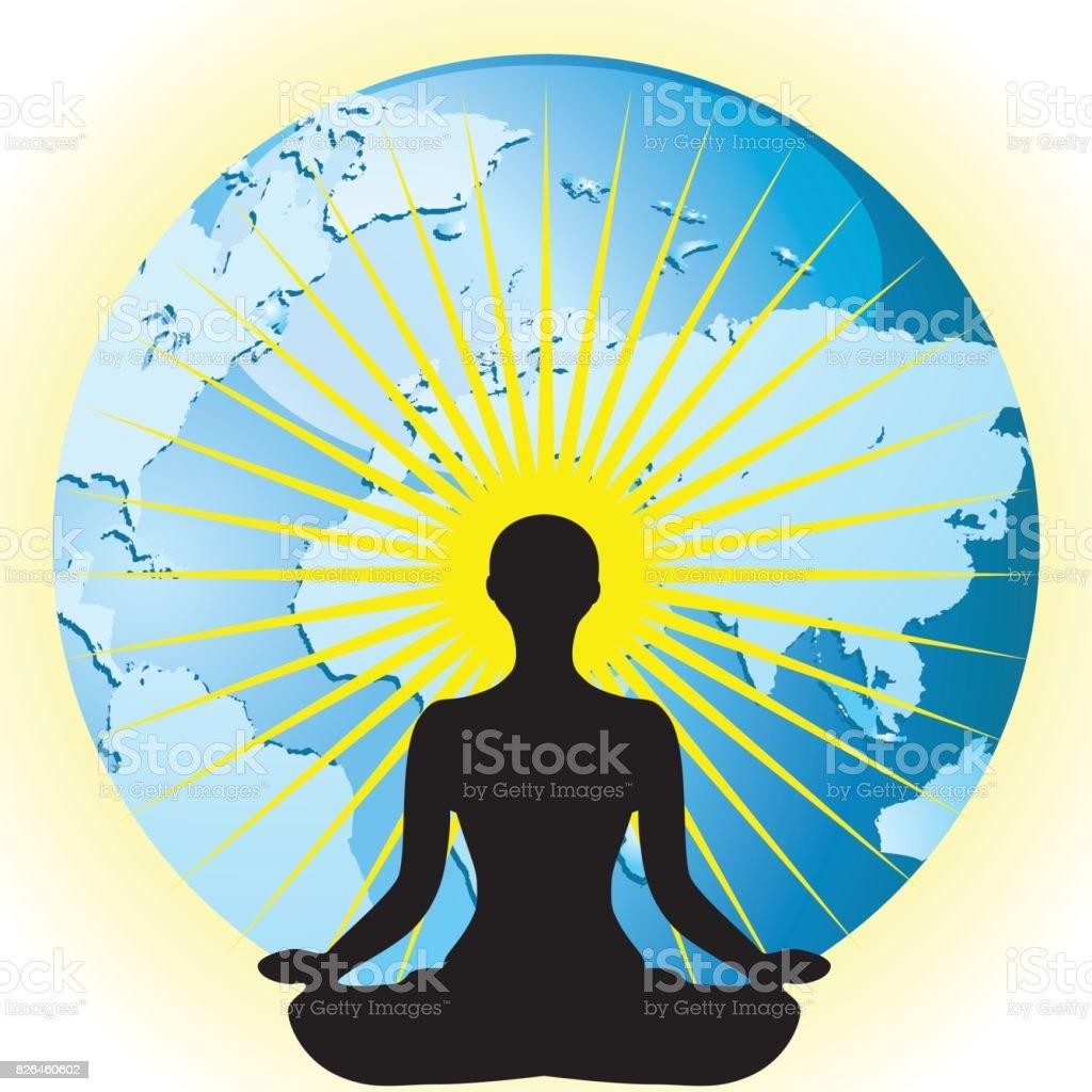 Yoga Women Silhouette In Pose Flower Lotus On Earth Globe Vector