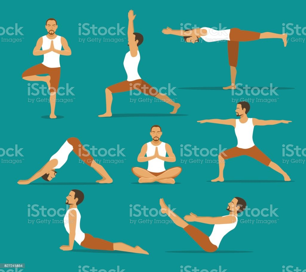 yoga workout. man in tree, lotus, boat,upwards and downwards facing dog pose, warrior one, two, three asanas vector art illustration