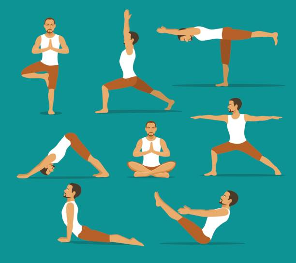 yoga workout. man in tree, lotus, boat,upwards and downwards facing dog pose, warrior one, two, three asanas - yoga stock illustrations, clip art, cartoons, & icons