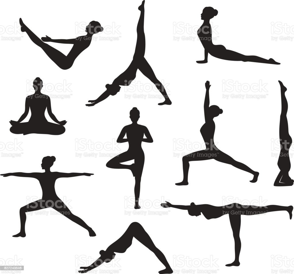 Yoga Workout. Silhouettes of a woman in Tree, Sirsasana, Boat, Warrior one, two, three, downwards and upwards facing dog, lotus, headstand poses vector art illustration
