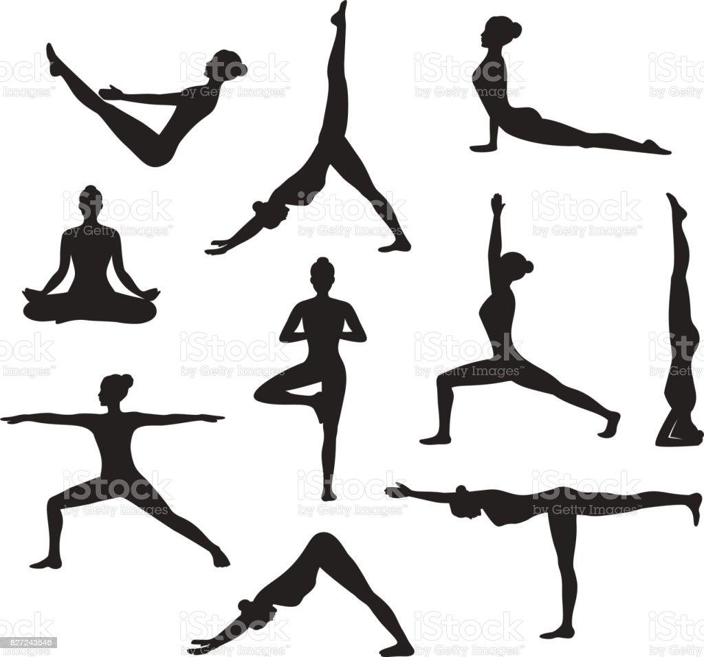 Ejercicios de yoga. Siluetas de una mujer en árbol, barco, Sirsasana, Guerrero uno, dos, tres, hacia abajo y hacia arriba hacia el perro, loto, posturas de headstand - ilustración de arte vectorial
