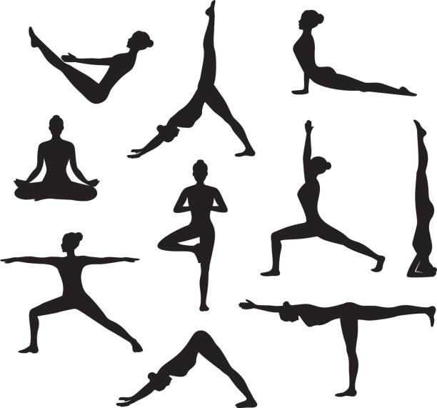 yoga workout. silhouettes of a woman in tree, sirsasana, boat, warrior one, two, three, downwards and upwards facing dog, lotus, headstand poses - yoga stock illustrations, clip art, cartoons, & icons