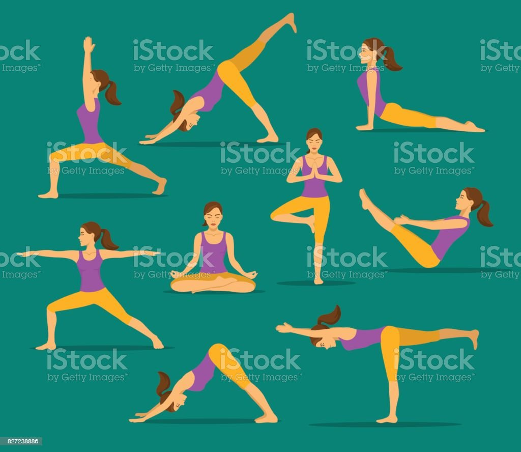 yoga workout. woman in tree, lotus, boat,upwards and downwards facing dog pose, warrior one, two, three asanas vector art illustration