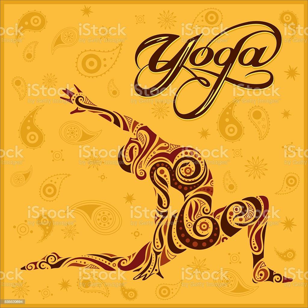 yoga yellow background vector art illustration