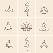 Set of outline icons and symbols for spa center or yoga studio
