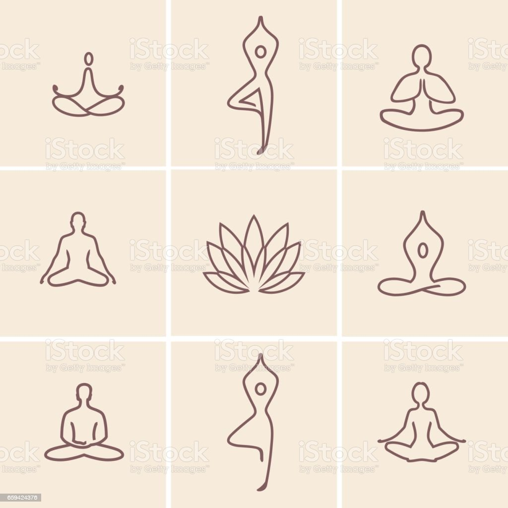 Yoga_Icons vector art illustration