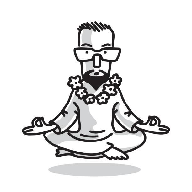 Yogi - Guru with Glasses Sitting In Lotus Pose. Characters of Business Yoga. Vector Isolated Graphic Illustration. Black and white image. yogi stock illustrations