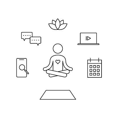 yogi sits around gadgets, calendar, rug and lotus