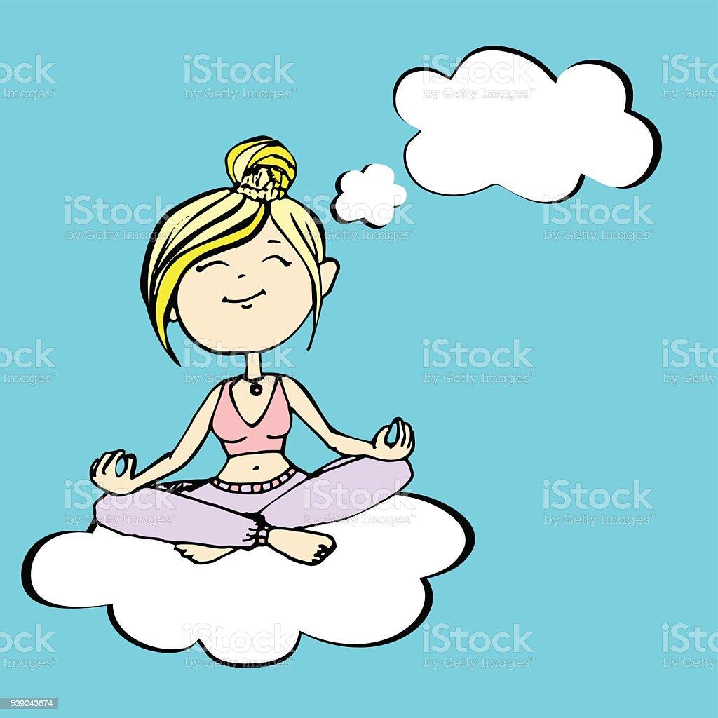 Yogui cree un joven tendido sobre un cloud ilustración de yogui cree un joven tendido sobre un cloud y más banco de imágenes de adolescente libre de derechos