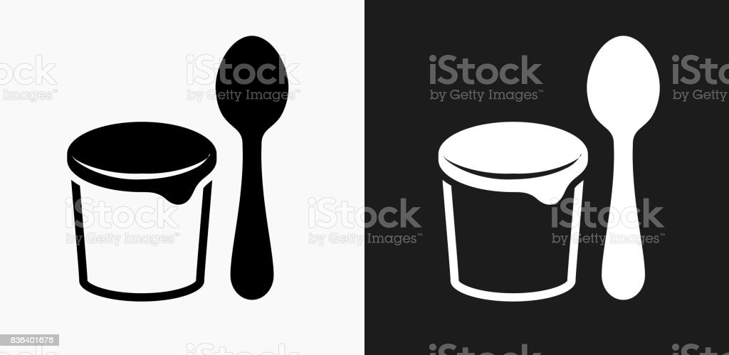 Yogurt and Spoon Icon on Black and White Vector Backgrounds vector art illustration
