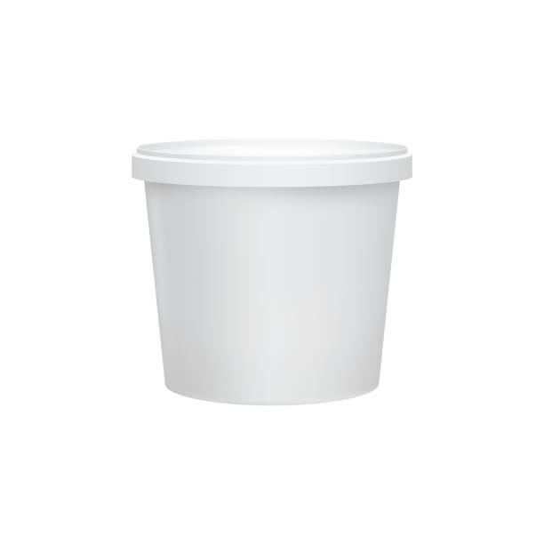 Yogurt container isolated on white background Yogurt container isolated on white background. Blank box ice cream or dessert. Plastic container for liquid milk products. 3d realistic packaging. Vector illustration. container stock illustrations