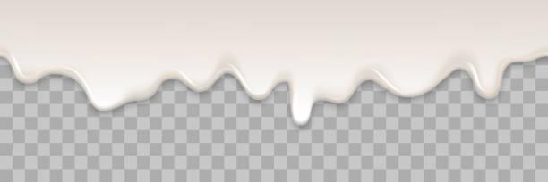 illustrazioni stock, clip art, cartoni animati e icone di tendenza di yogurt creamy liquid or yoghurt cream melt splash flowing background. vector white milk splash or ice cream flow soft texture on transparent background for sweet dessert design - ice cream