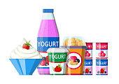 Yogurt or milky dessert set. Strawberry black currant cherry yogurt dessert. Food plastic glass, drinking bottle and cream bowl. Milk product. Organic healthy product. Vector illustration flat style