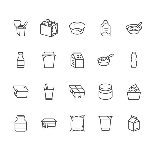 ilustrações de stock, clip art, desenhos animados e ícones de yogurt packaging flat line icons. dairy products - milk bottle, cream, kefir, cheese illustrations. thin signs for food store. pixel perfect 64x64. editable strokes - muesli