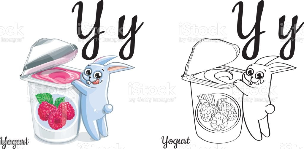 Yogurt Vector Alphabet Letter Y Coloring Page Stock Vector Art