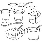 vector set of yogurt