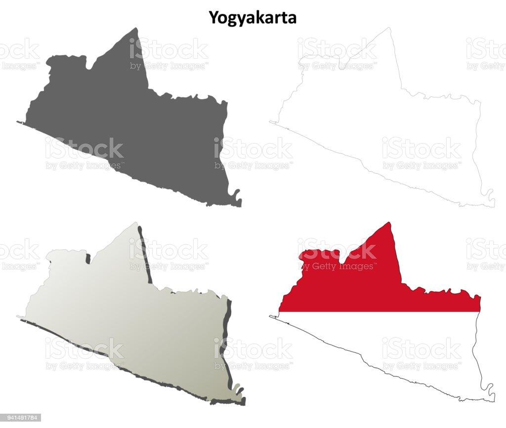 Yogyakarta Blank Outline Map Set Stock Vector Art & More Images of ...