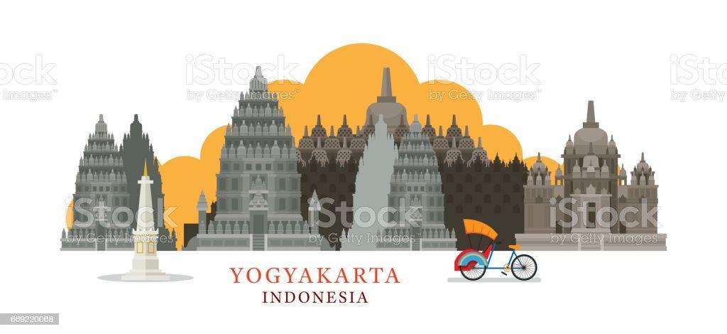 Yogyakarta, Indonesia Architecture Landmarks Skyline vector art illustration