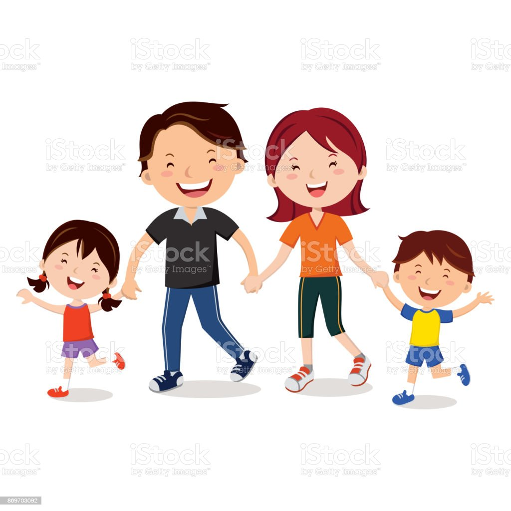 Yong family walking together and holding hands vector art illustration