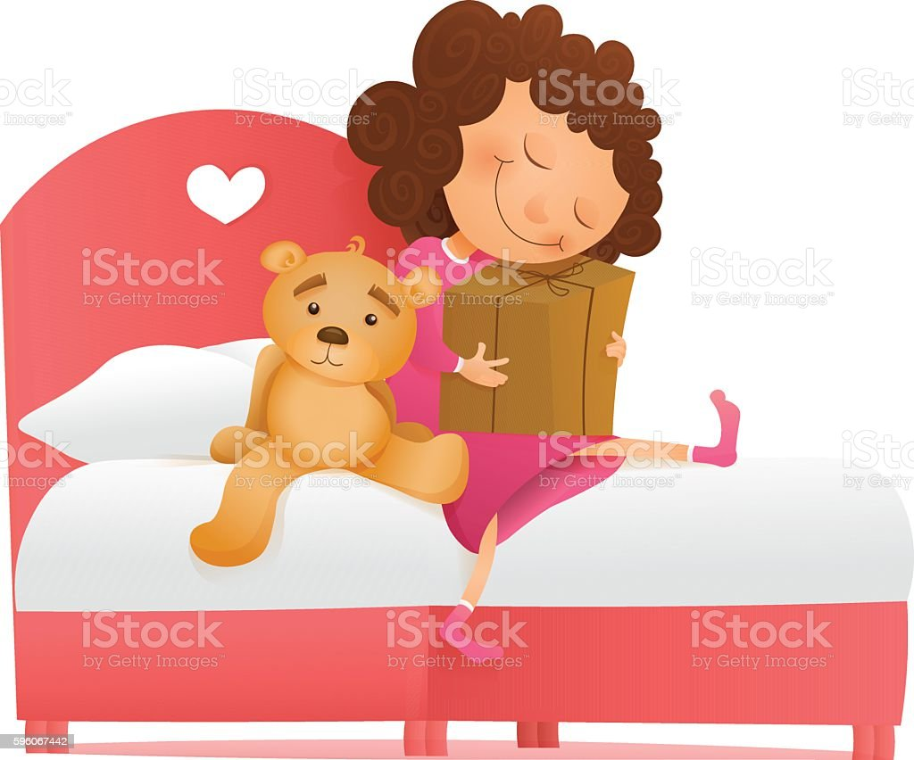 Yong girl with a gift waiting for miracle. Birthday morning royalty-free yong girl with a gift waiting for miracle birthday morning stock vector art & more images of backgrounds