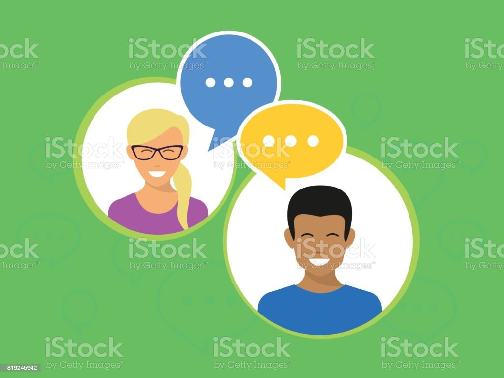 Yong happy people in circles with speech bubbles flat vector illustration