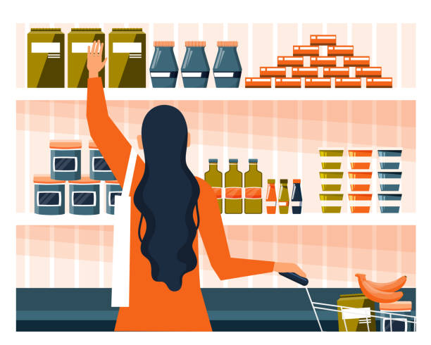 illustrazioni stock, clip art, cartoni animati e icone di tendenza di yong woman doing the grocery shopping - mercato frutta donna