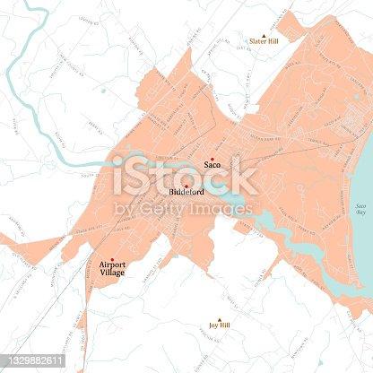 istock ME York Biddeford Vector Road Map 1329882611