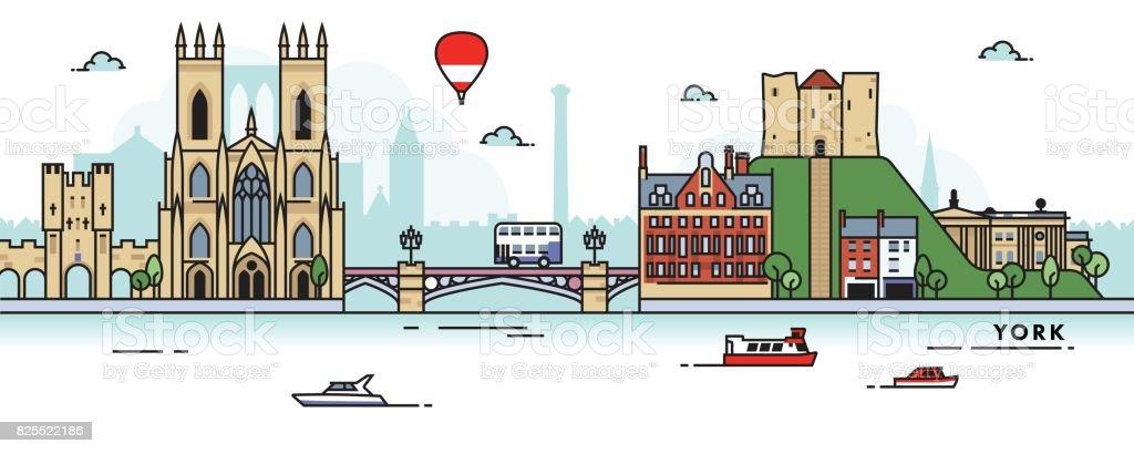 York (UK) City Skyline vector art illustration